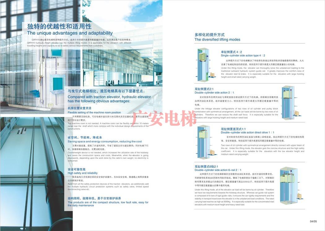 双缸侧置式6轨2:1液压载货电梯